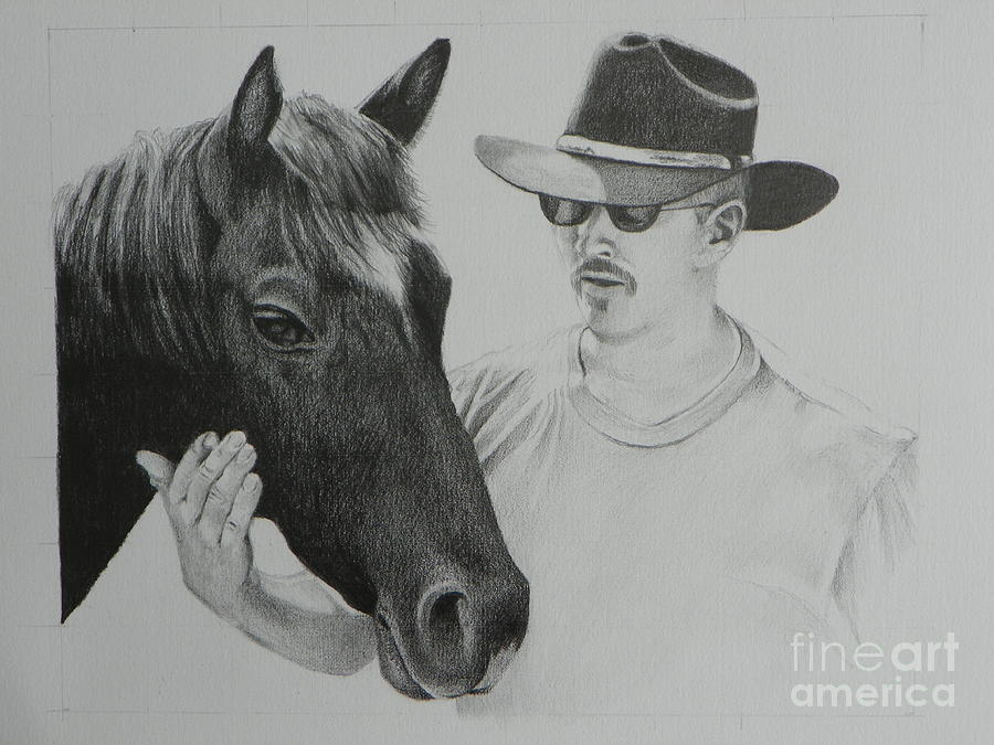 A Cowboy And His Horse Drawing  - A Cowboy And His Horse Fine Art Print