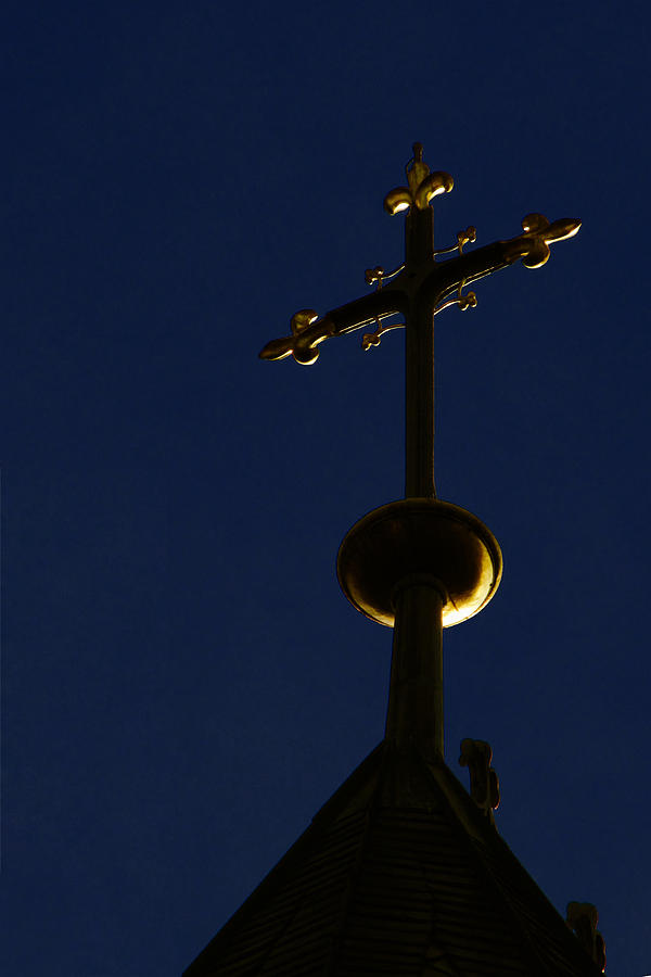 A Cross On St Vitus Cathedral Prague Photograph