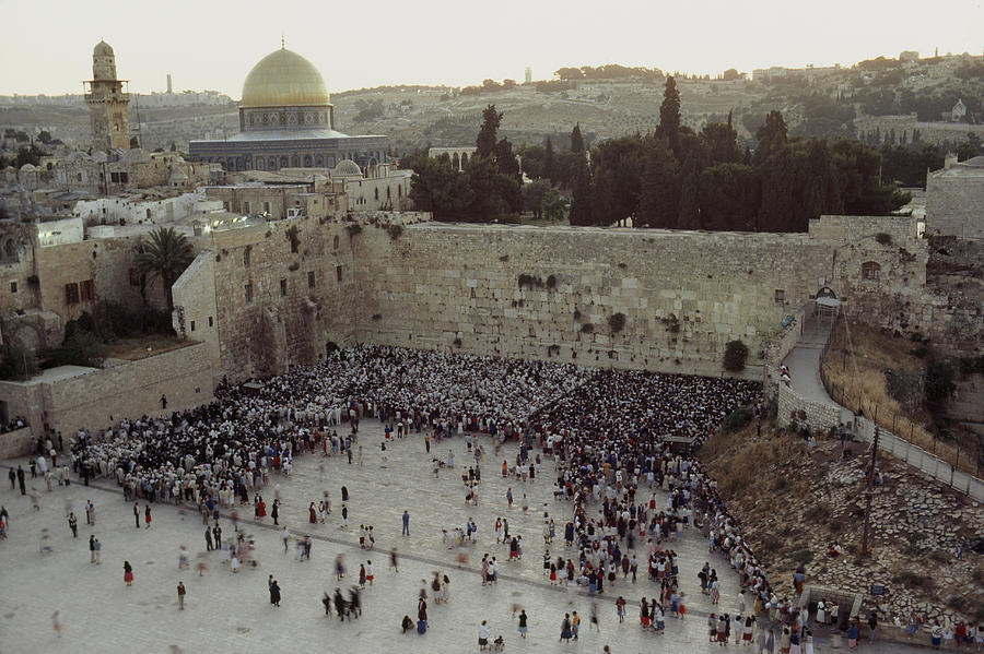 A Crowd Gathers Before The Wailing Wall Photograph