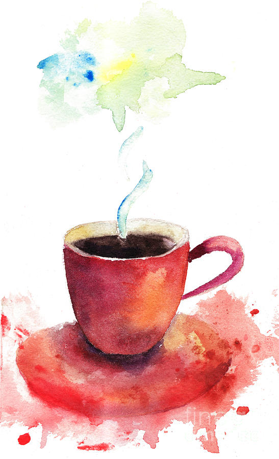 A cup of coffee painting by regina jershova for Coffee watercolor