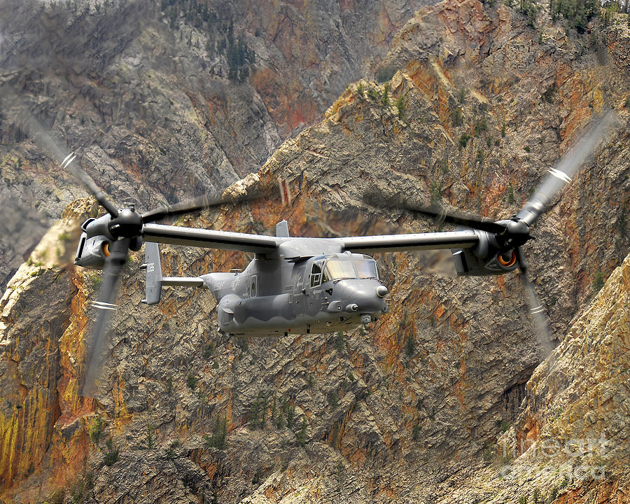 A Cv-22 Osprey Flies Over The Canyons Photograph  - A Cv-22 Osprey Flies Over The Canyons Fine Art Print