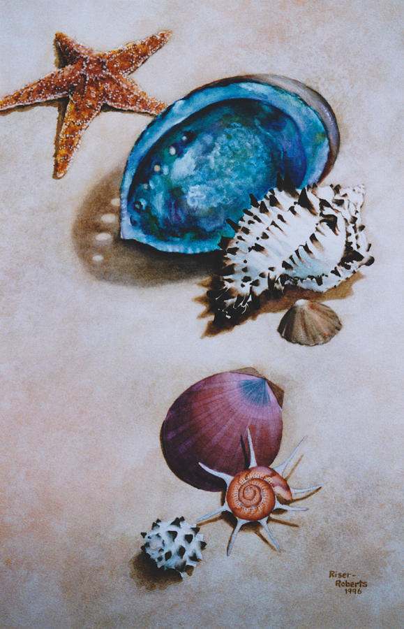 Watercolor Of Seashells Painting - A Day At The Beach by Eve Riser Roberts