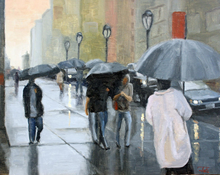 A Day For Umbrellas Painting  - A Day For Umbrellas Fine Art Print