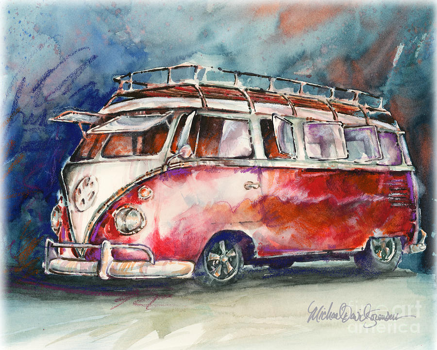 A Deluxe 15 Window Vw Bus Painting  - A Deluxe 15 Window Vw Bus Fine Art Print