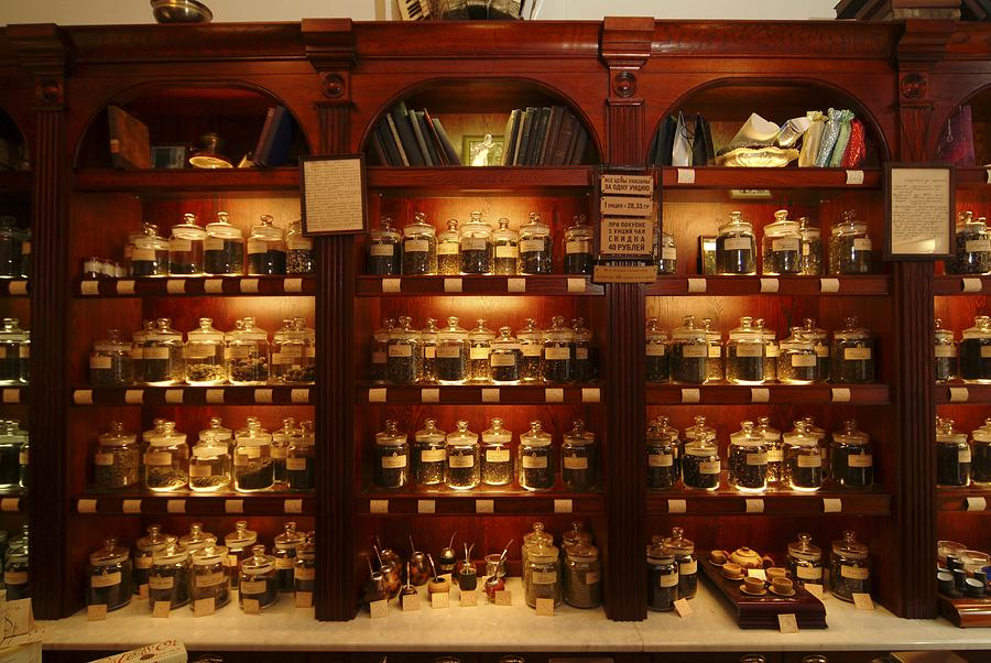 A Display Of Tea In A Tea Shop Photograph