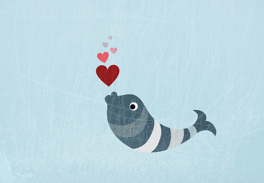 A Fish Blowing Love Heart Bubbles Digital Art