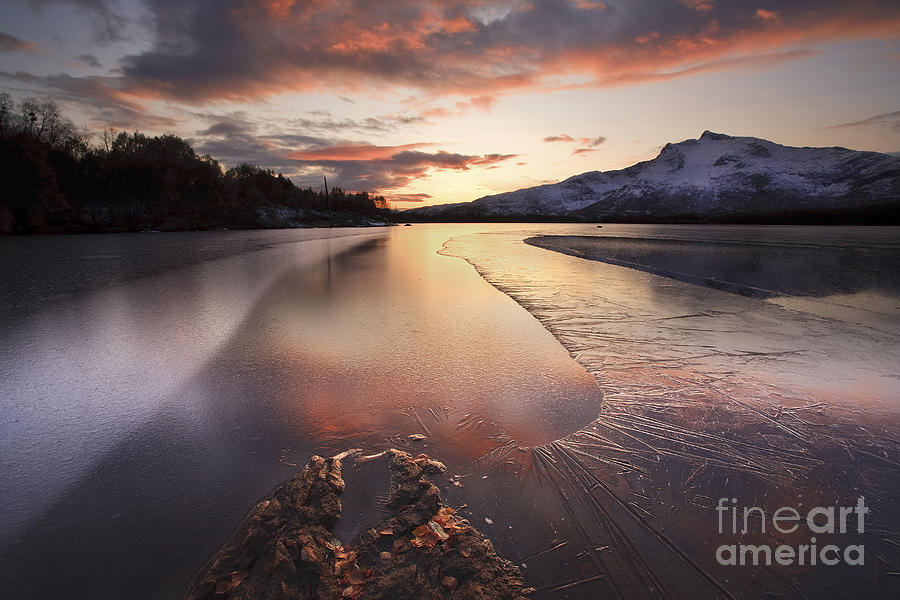 A Frozen Straumen Lake On Tjeldoya Photograph  - A Frozen Straumen Lake On Tjeldoya Fine Art Print
