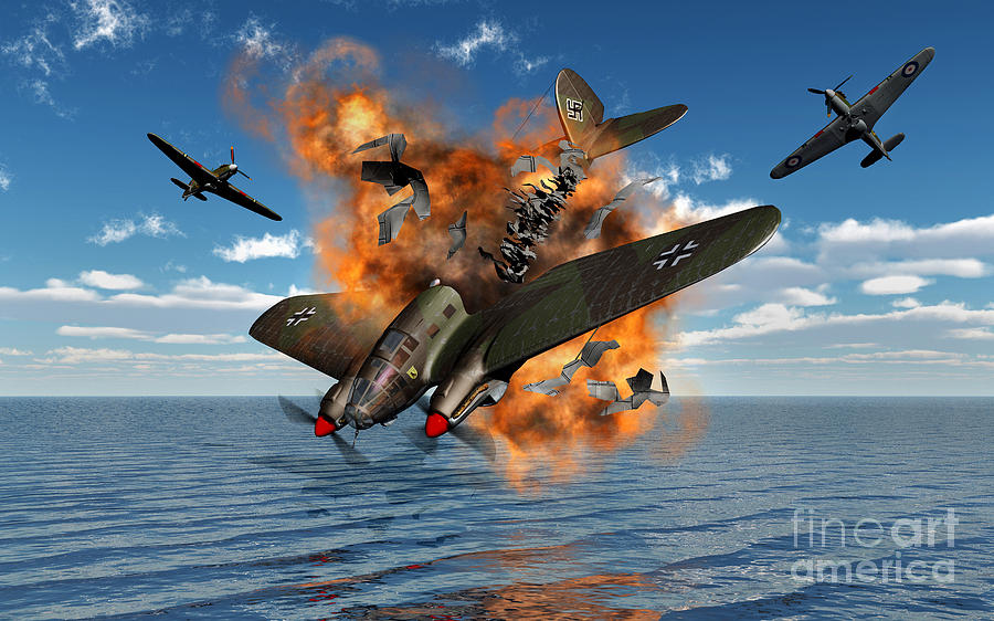 A German Heinkel Bomber Crashes Digital Art  - A German Heinkel Bomber Crashes Fine Art Print