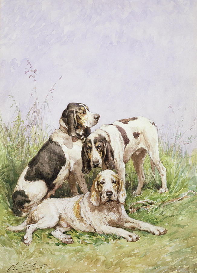 A Group Of French Hounds Painting