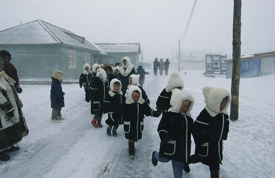Commonwealth Of Independent States Photograph - A Group Of School Children Run by Maria Stenzel