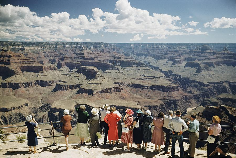 A Group Of Visitors At Hopi Point Photograph  - A Group Of Visitors At Hopi Point Fine Art Print