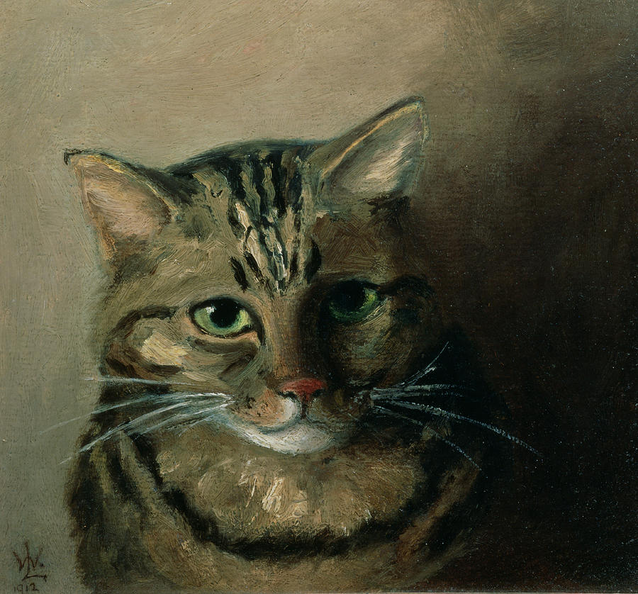 A head study of a tabby cat by louis wain for Cat paintings on canvas