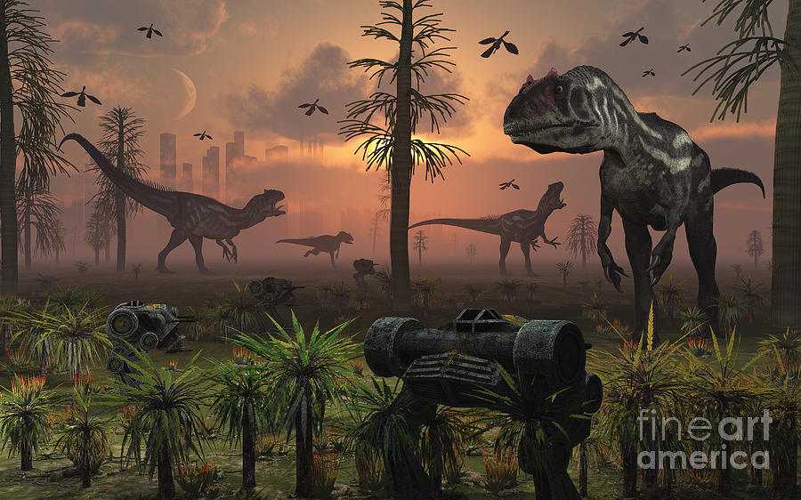 A Herd Of Allosaurus Dinosaur Cause Digital Art  - A Herd Of Allosaurus Dinosaur Cause Fine Art Print