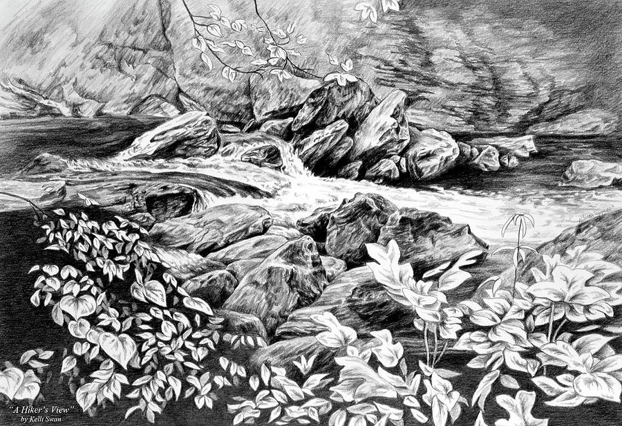 A Hikers View - Landscape Print Drawing
