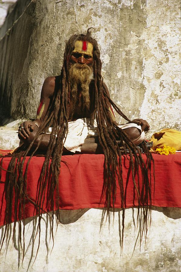 A Hindu Holy Man With Streaming Photograph