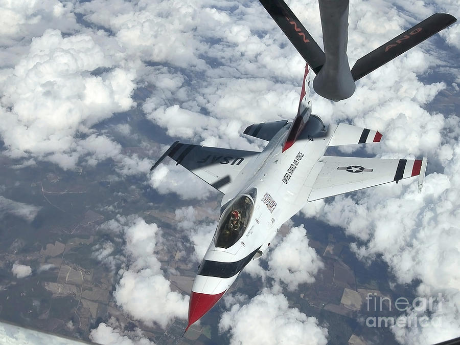 A Kc-135 Stratotanker Refuels An Air Photograph  - A Kc-135 Stratotanker Refuels An Air Fine Art Print