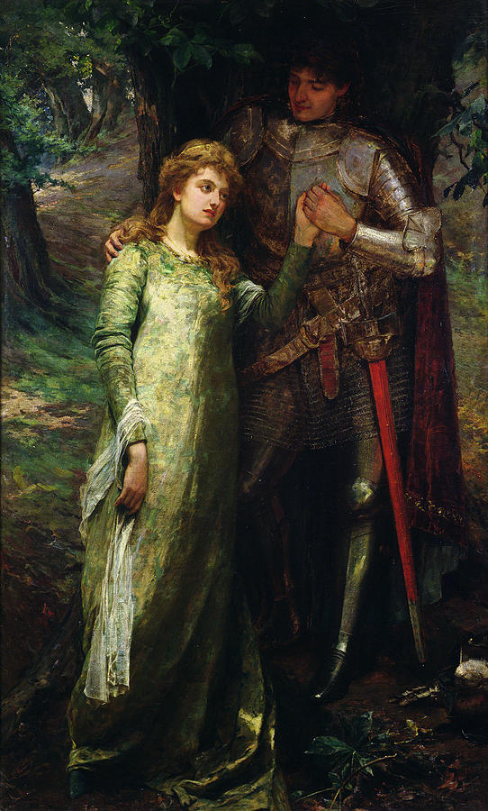 A Knight And His Lady Painting  - A Knight And His Lady Fine Art Print