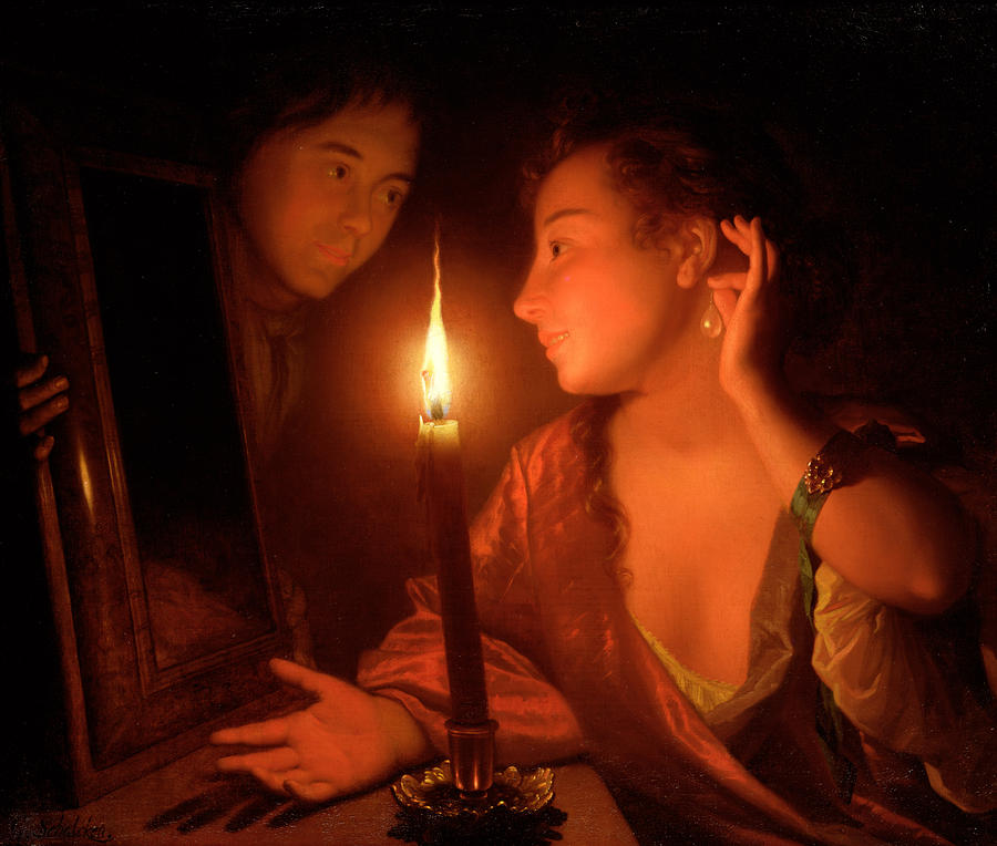 A Lady Admiring An Earring By Candlelight Painting
