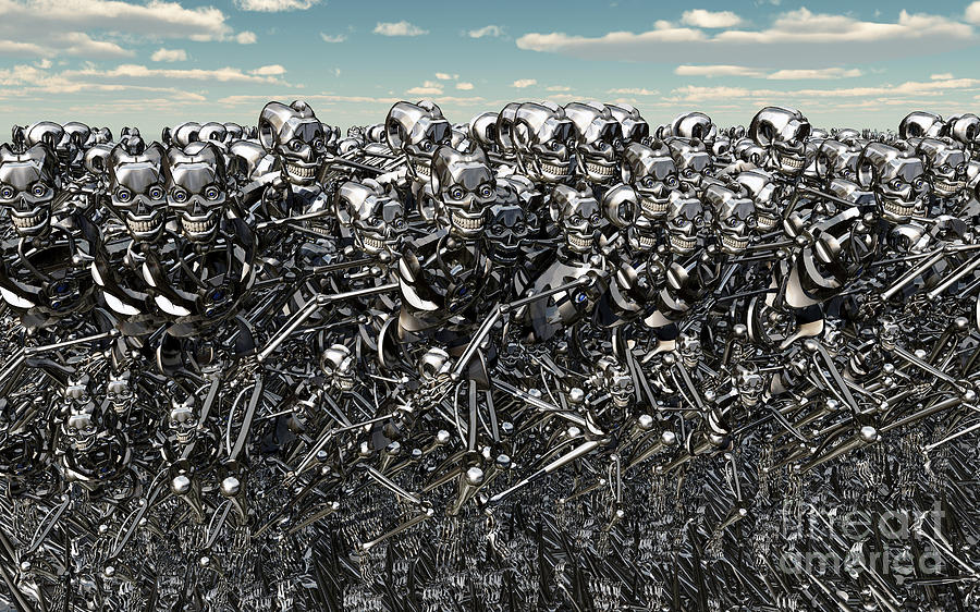 A Large Gathering Of Robots Digital Art  - A Large Gathering Of Robots Fine Art Print
