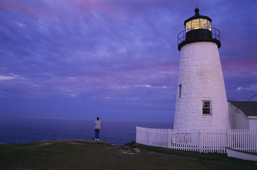 A Lighthouse Visitor Enjoys A Twilight Photograph  - A Lighthouse Visitor Enjoys A Twilight Fine Art Print