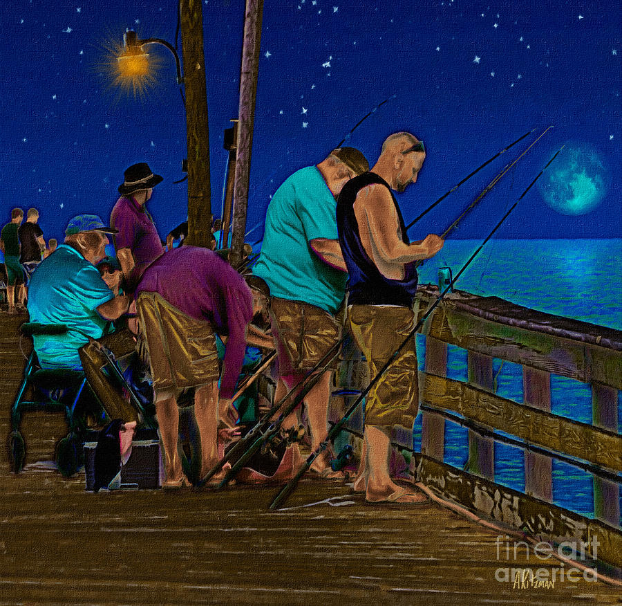 A Little Night Fishing At The Rodanthe Pier 2 Painting