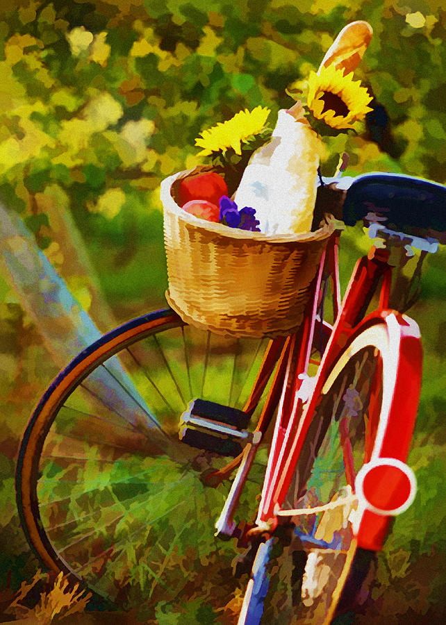 A Loaf Of Bread A Jug Of Wine And A Bike Painting  - A Loaf Of Bread A Jug Of Wine And A Bike Fine Art Print