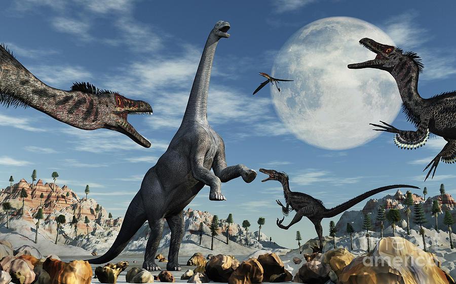 Imagination Digital Art - A Lone Camarasaurus Dinosaur by Mark Stevenson