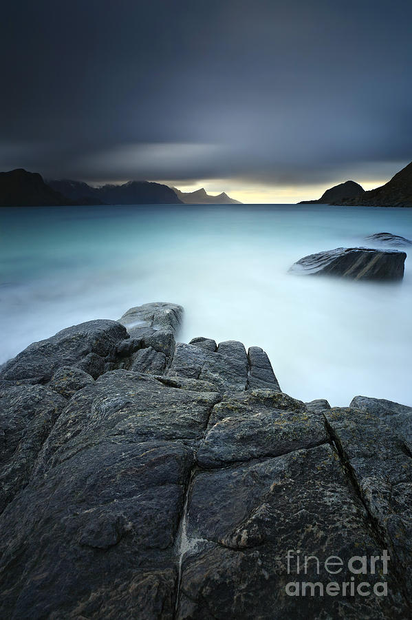 A Long Exposure Scene At Haukland Beach Photograph  - A Long Exposure Scene At Haukland Beach Fine Art Print