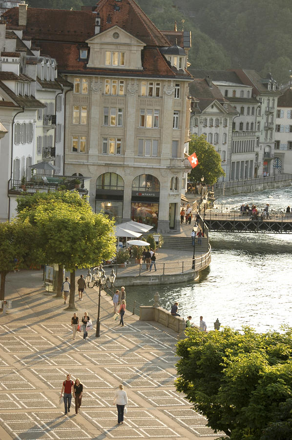 A Lucerne Street Scene In The City Photograph  - A Lucerne Street Scene In The City Fine Art Print