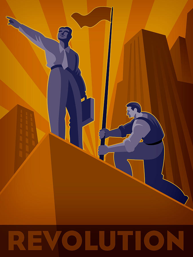 A Man Erecting A Flag And A Businessman Pointing Towards A Direction, To Illustrate Revolution Digital Art