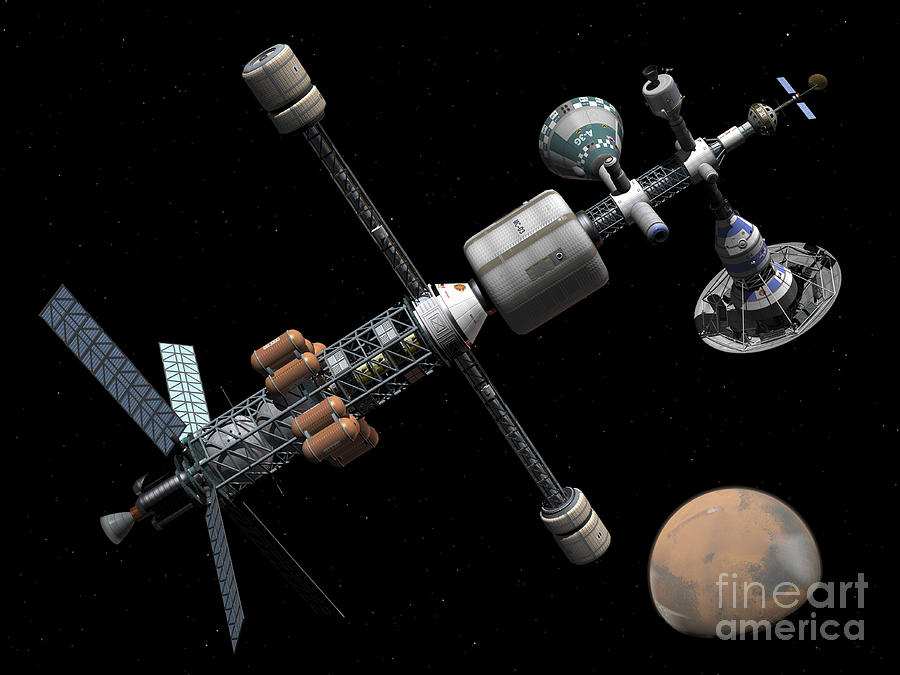 A Manned Mars Cycler Space Station Digital Art  - A Manned Mars Cycler Space Station Fine Art Print