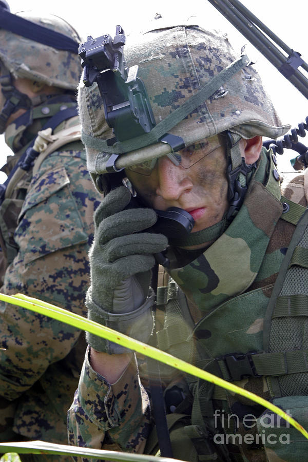 A Marine Communicates Over The Radio Photograph  - A Marine Communicates Over The Radio Fine Art Print