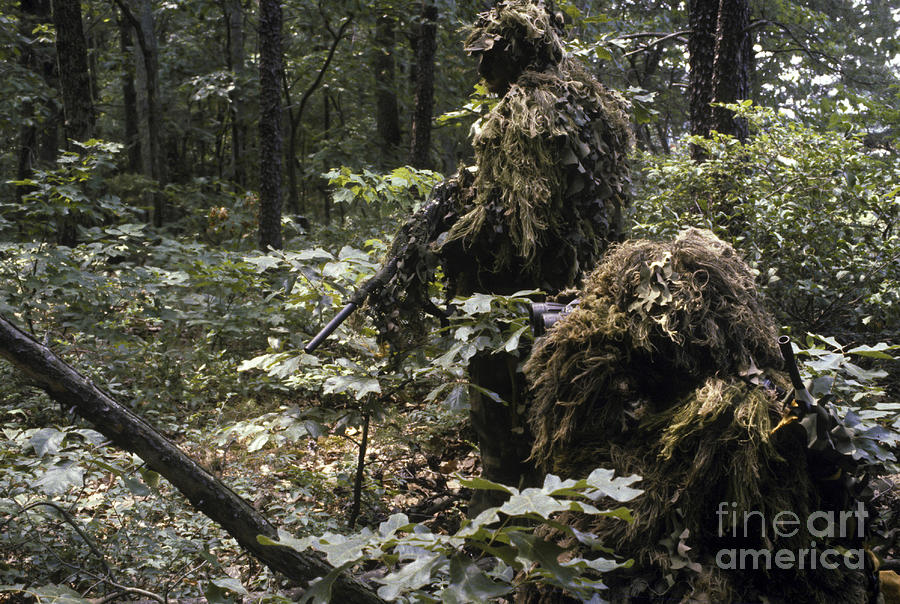 A Marine Sniper Team Wearing Camouflage Photograph