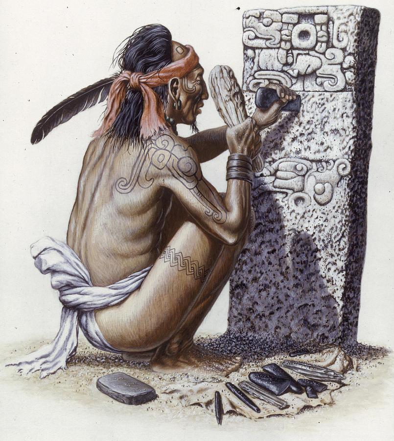 A Maya Artisan Readies A Limestone Photograph