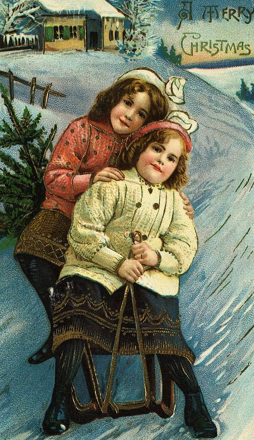 Winter Painting - A Merry Christmas Postcard With Sledding Girls by American School