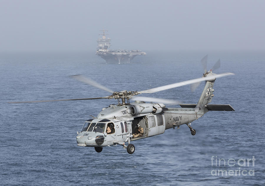 Arabian Sea Photograph - A Mh-60s Knighthawk Conducts A Vertical by Gert Kromhout
