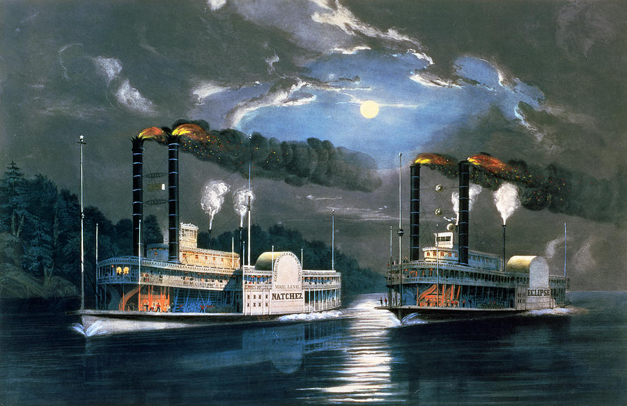 A Midnight Race On The Mississippi Painting  - A Midnight Race On The Mississippi Fine Art Print