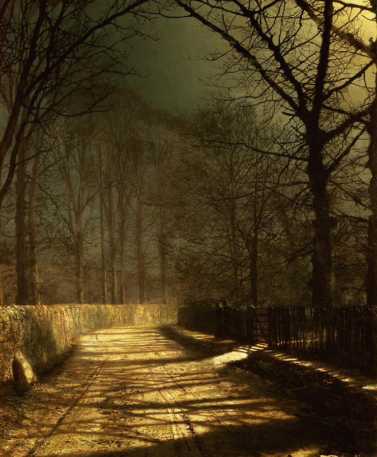 A Moonlit Lane Painting  - A Moonlit Lane Fine Art Print