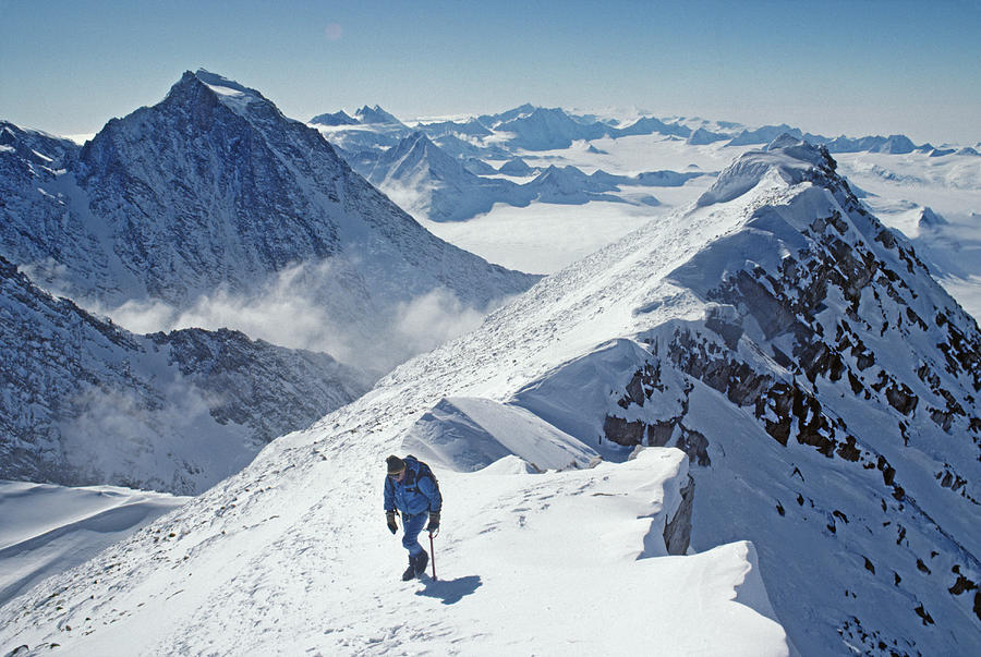 A Mountaineer On The Summit Ridge Photograph