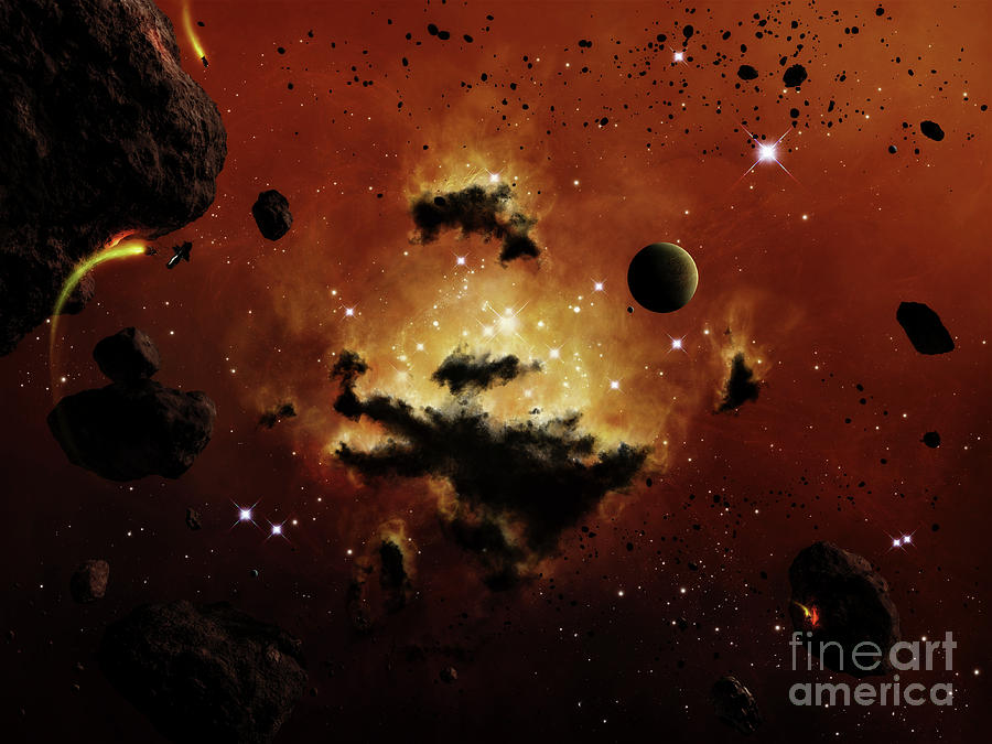 A Nebula Evaporates In The Far Distance Digital Art  - A Nebula Evaporates In The Far Distance Fine Art Print