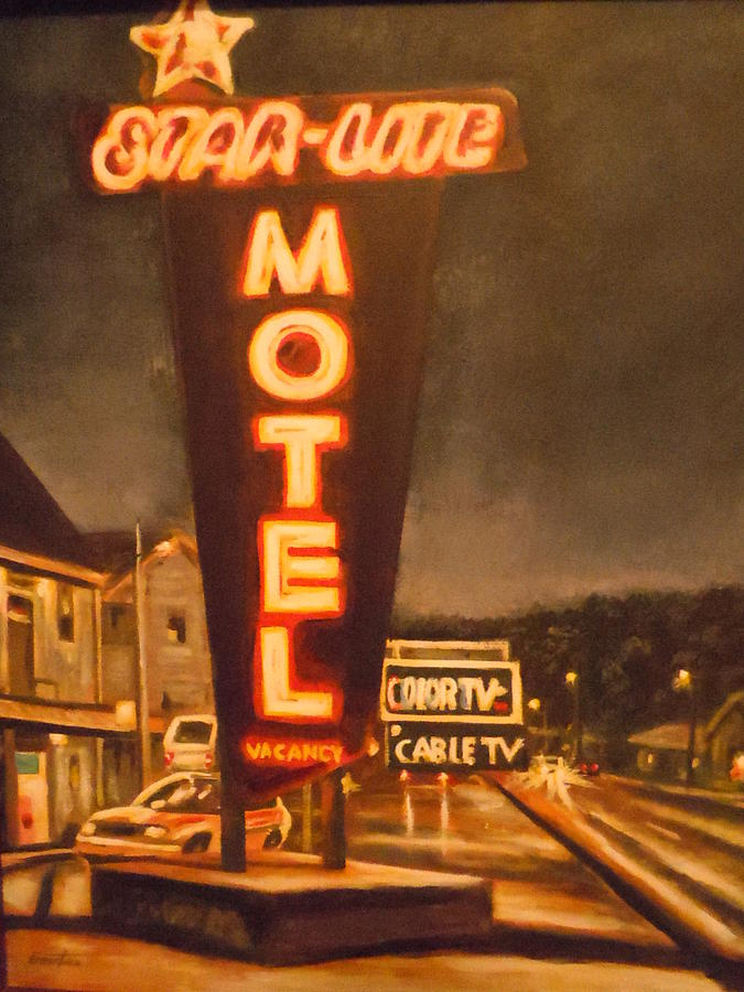 A Night At The Star-lite Motel Painting  - A Night At The Star-lite Motel Fine Art Print