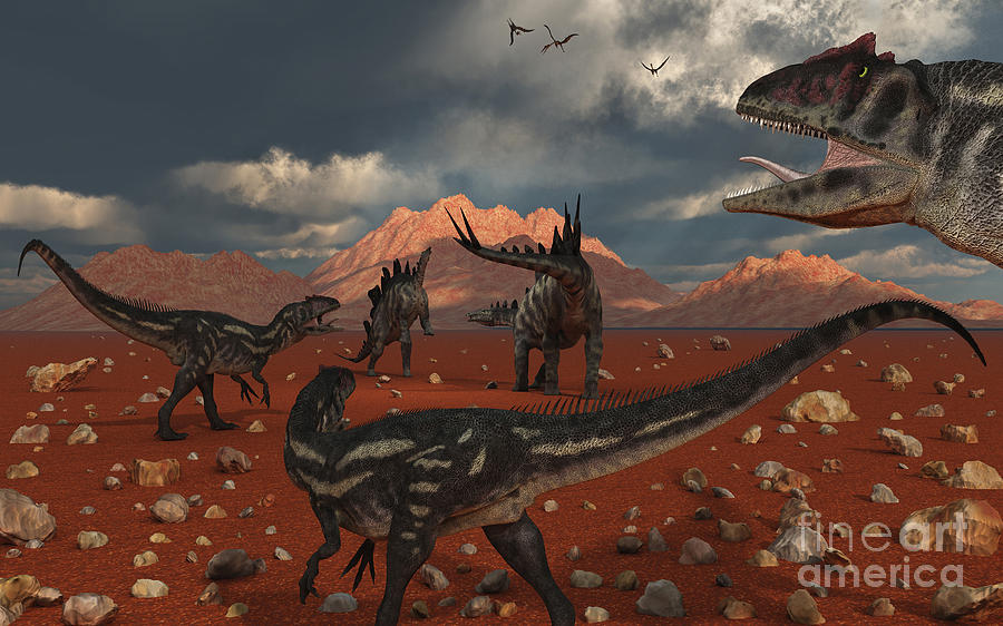 A Pack Of Allosaurus Dinosaurs Track Digital Art