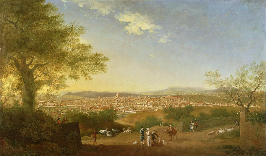 A Panoramic View Of Florence From Bellosguardo Painting  - A Panoramic View Of Florence From Bellosguardo Fine Art Print