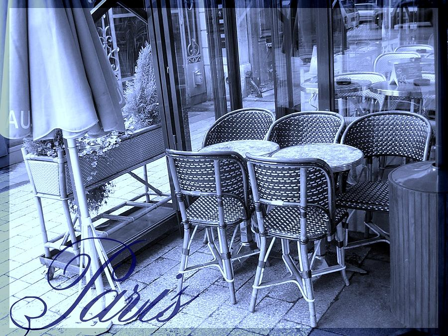 A Parisian Sidewalk Cafe In Blue Photograph  - A Parisian Sidewalk Cafe In Blue Fine Art Print