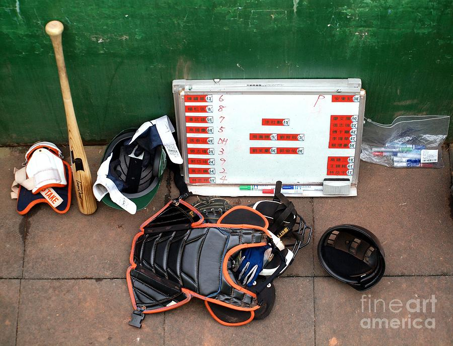 Dugout Photograph - A Peak Into The Dugout During A Baseball Game by Yali Shi