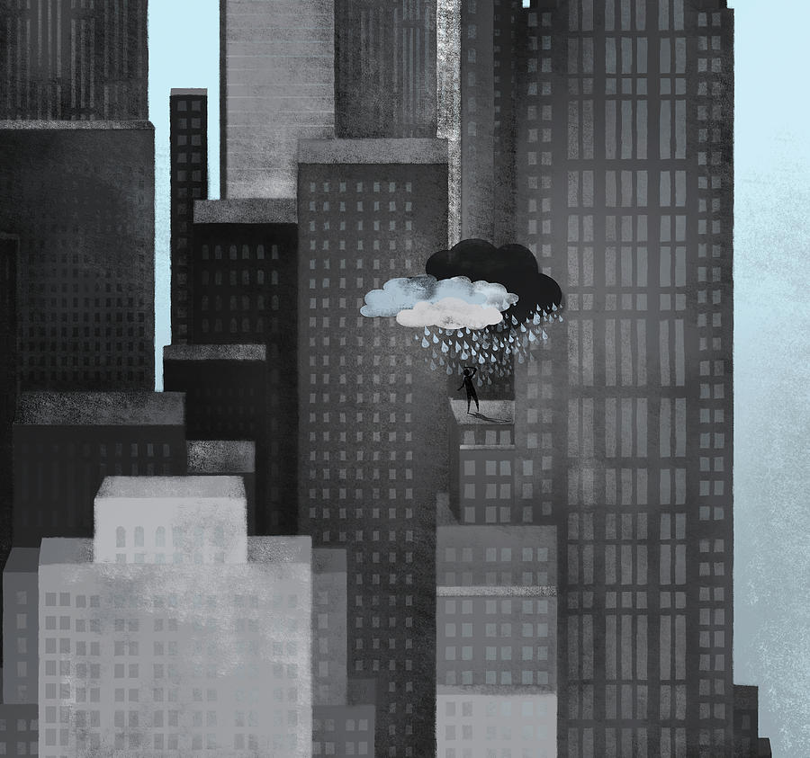 A Person On A Skyscraper Under A Storm Cloud Getting Rained On Digital Art