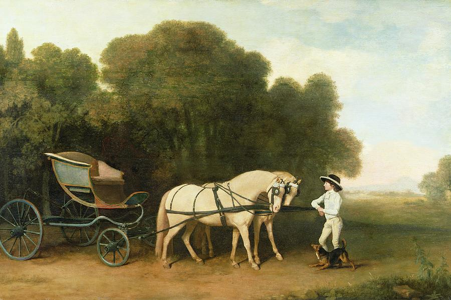 A Phaeton With A Pair Of Cream Ponies In The Charge Of A Stable-lad Photograph