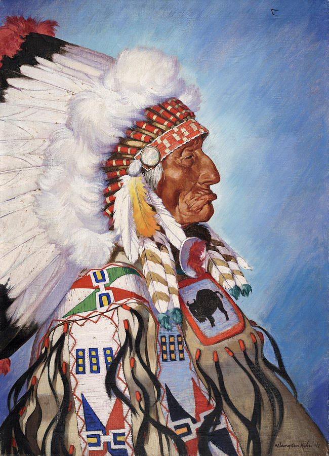 Illustration Photograph - A Portrait Of 95-year Old Sioux Chief by W. Langdon Kihn