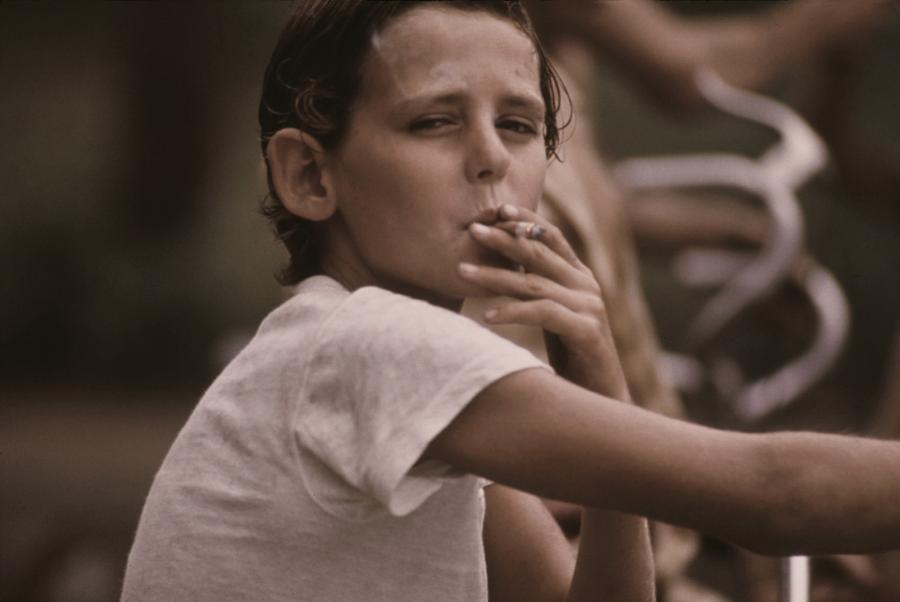 Pre-teen Boy Smoking A Cigarette Photograph