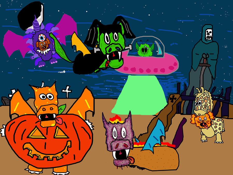 A Puppydragon Halloween Digital Art